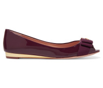 Trudy Bow-embellished Patent-leather Ballet Flats Bordeaux