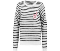 Appliquéd striped knitted sweater