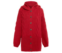 Mud Hooded Cable-knit Cardigan Rot