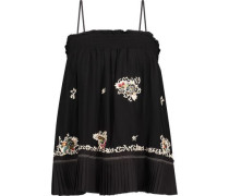 Embellished embroidered silk-chiffon top
