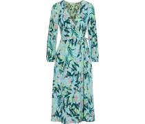 Evelyn Reversible Printed Crepe Midi Wrap Dress