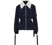 Shearling-trimmed Strap-detailed Crinkled-shell Jacket