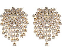 22-karat -plated Crystal Clip Earrings