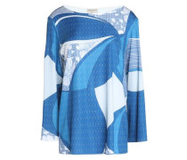 Draped printed jersey top
