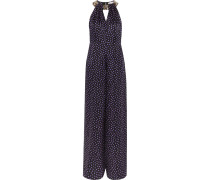 Embellished Polka-dot Silk-chiffon Jumpsuit Schwarz
