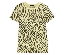Zebra-print Slub Cotton-jersey T-shirt