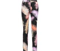 Printed Mid-rise Skinny Jeans Schwarz