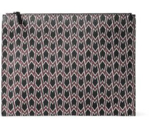 Printed faux leather clutch