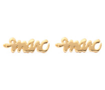 Script Gold-tone Earrings