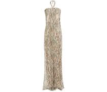 Plated Printed Silk-voile Halterneck Maxi Dress
