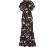 Fluted Pintucked Floral-print Silk-chiffon Maxi Dress
