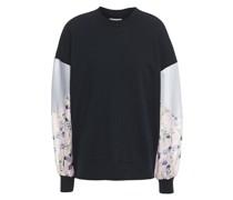Sweatshirt aus Baumwollfrottee mit Einsätzen aus Twill und Crêpe De Chine mit Floralem Print