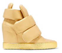Padded Metallic Leather Wedge Sneakers Gold