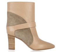 Suede-paneled Leather Ankle Boots Beige