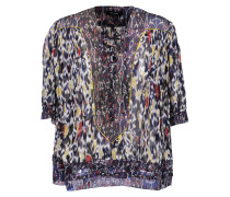 Paden Lace-up Printed Silk-georgette Blouse Mehrfarbig