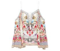 Cold-shoulder Embellished Printed Silk Crepe De Chine Blouse