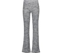 Mélange Stretch Ribbed-knit Bootcut Pants Hellgrau