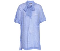 Pussy-bow Checked Silk-georgette Blouse