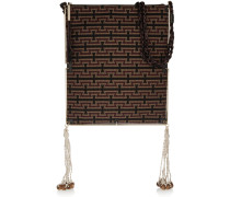 Tassel-trimmed Croc-effect Leather And Jacquard Shoulder Bag Schwarz