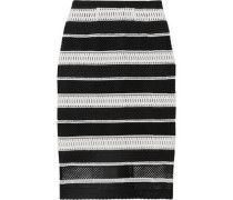 Striped guipure lace midi skirt