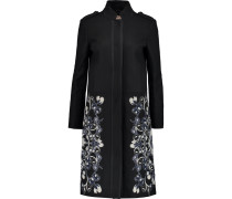 Remy Embroidered Wool-blend Coat Schwarz