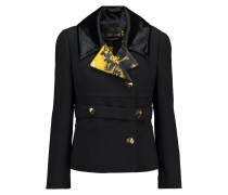 Printed Satin And Velvet-trimmed Wool-crepe Jacket Schwarz