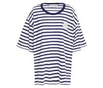 Gestreiftes T-shirt aus Baumwoll-jersey mit Applikationen