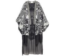 Wild Moonchild Embellished Printed Silk Crepe De Chine And Chiffon Kimono