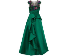 Embellished Tulle And Duchesse-satin Gown Emerald