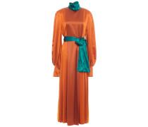Belted Color-block Silk-satin Midi Dress