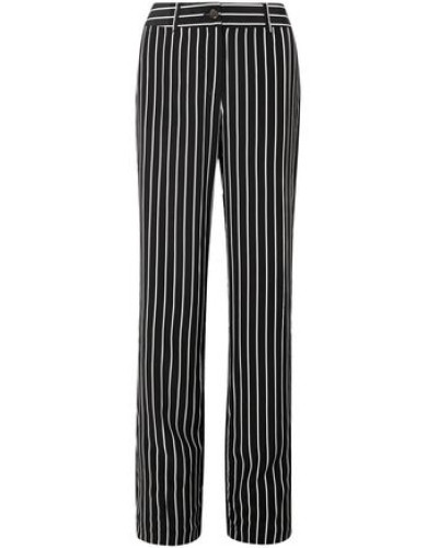 Lita Striped Washed-silk Wide-leg Pants Black
