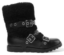 Eyelet-embellished Leather And Shearling Boots Schwarz