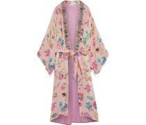 Lina Kimono aus Crêpe De Chine aus Seide mit Jacquard-besatz und Print