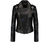 Jersey-paneled printed faux leather jacket