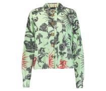 Printed Cotton-blend Piqué Shirt Jade