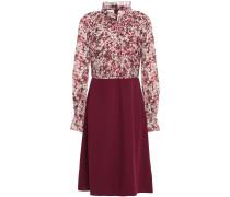Kleid aus Georgette und Twill mit Rüschenbesatz und Falten