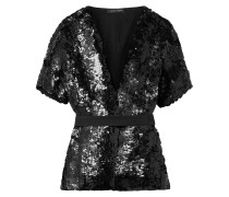 Belted Sequined Silk Blouse