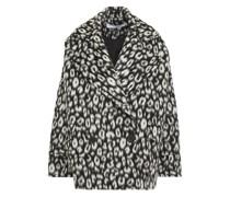 Double-breasted Leopard-print Brushed Wool-felt Coat