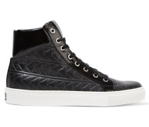 Quilted And Glossed-leather High-top Sneakers Schwarz