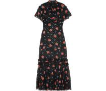 Pussy-bow Ruffle-trimmed Silk-blend Fil Coupé Maxi Dress Schwarz