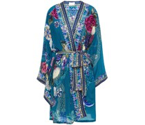 Kimono aus Crêpe De Chine aus Seide mit Print und Verzierung