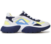 Woman Color-block Pebbled-leather And Mesh Sneakers Navy