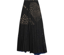 Cato Pleated Laser-cut Crepe Maxi Skirt Schwarz