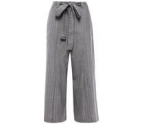 Belted Pinstriped Wool Culottes