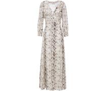 Tie-front Leopard-print Silk-crepe Maxi Shirt Dress