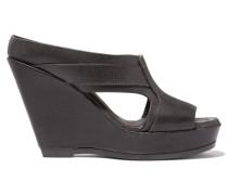 Cracked-leather Wedge Sandals Dunkelgrau