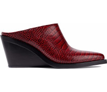 Woman Santiago Croc-effect Leather Wedge Mules Red