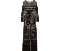 Ashina Embroidered Open-knit Gown Schwarz