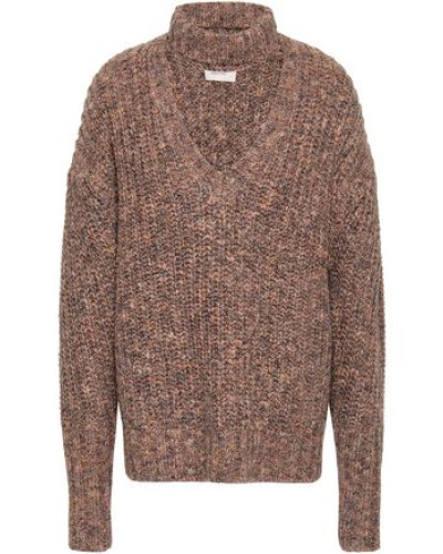 Woman Cutout Marled Knitted Sweater Sand