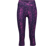 Candace Cropped Printed Stretch-cotton Leggings Magenta